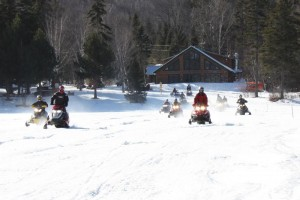 Snowmobiles at Lodge